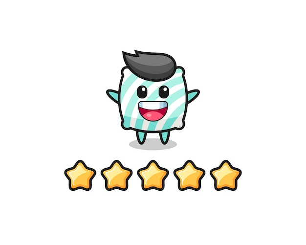 Иллюстрация лучшего рейтинга клиента, милый персонаж подушки с 5 звездами, симпатичный дизайн футболки, наклейка, элемент логотипа