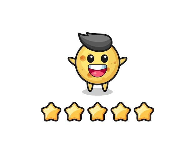 Иллюстрация лучшего рейтинга клиентов, милый персонаж круглого сыра с 5 звездами, симпатичный дизайн футболки, наклейка, элемент логотипа