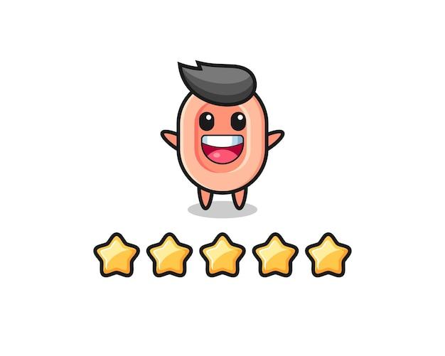 Иллюстрация лучшего рейтинга клиента, мыльного симпатичного персонажа с 5 звездами, симпатичного дизайна футболки, наклейки, элемента логотипа
