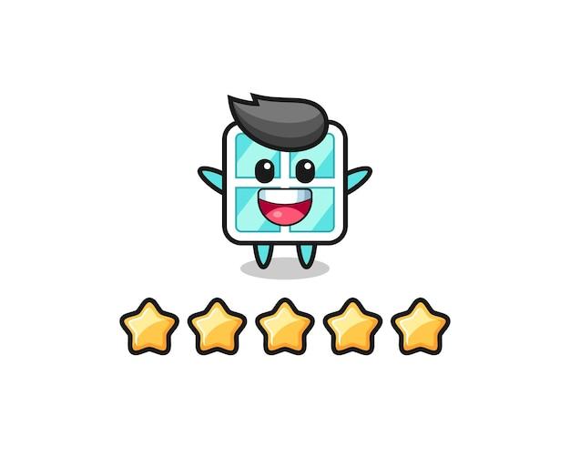Иллюстрация лучшего рейтинга клиента, симпатичный персонаж в окне с 5 звездами, симпатичный дизайн футболки, наклейка, элемент логотипа