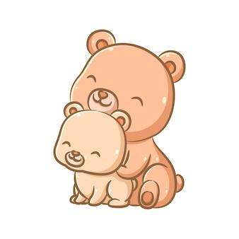 Иллюстрация милый и забавный большой бурый медведь сидит и играет вместе с медвежонком Premium векторы