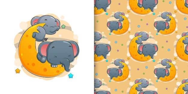 Иллюстрация милого слона, спящего на луне в ночное время суток