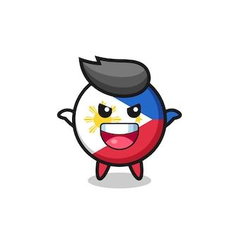 怖いジェスチャーをしているかわいいフィリピンの旗バッジのイラスト、tシャツ、ステッカー、ロゴ要素のかわいいスタイルのデザイン