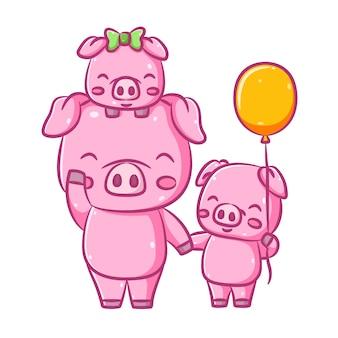 Иллюстрация милых трех розовых свиней, которые ходят вместе и держат желтый шар