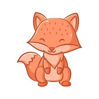 Иллюстрация забавного и симпатичного оранжевого лиса с большим хвостом, сидящего на ногах и счастливого лица