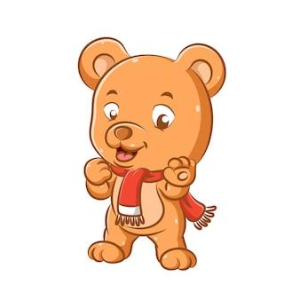 Иллюстрация забавного медведя с красной шалью, стоящего ногами и улыбающегося ртом