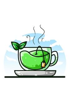 Иллюстрация рисования руки зеленого чая