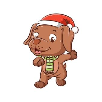 クリスマスの帽子と緑のショールを持つ小さな犬のイラストは幸せそうな顔で歩いています