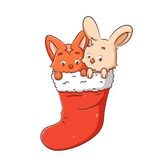 Иллюстрация кролика и кошки греет свое тело в большом оранжевом носке, потому что им холодно.