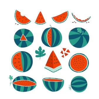 잘 익은 빨간 수박의 삽화는 수분이 많은 과일 세트에 완벽한 수박의 씨앗을 조각냅니다.
