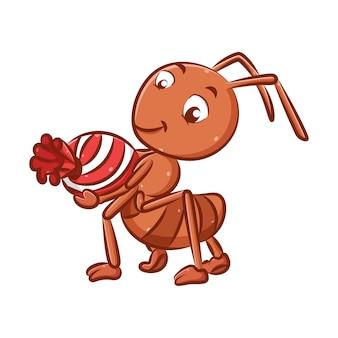 赤い色の大きなアリのイラストは、大きなビー玉のお菓子を手に持っています