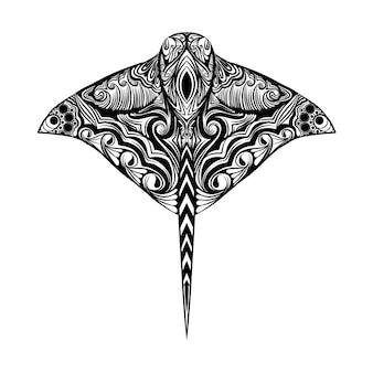 長い尾を持ち、体にゼンタングルがいっぱいの大きなアカエイのイラスト