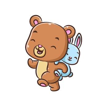 Иллюстрация: синий милый медведь идет с маленьким кроликом на спине Premium векторы