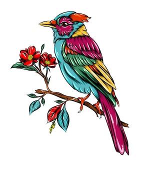 На маленькой ветке дерева рядом с цветами изображена размытая птица в технике дзентангл сойки хорошего цвета.