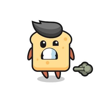 Иллюстрация мультфильма хлеба, пердящего, милый стиль дизайна для футболки, наклейки, элемента логотипа