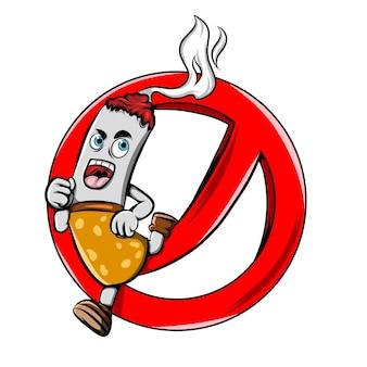연기를 방출하고 빨간색 정지 신호에서 점프하는 불타는 담배의 그림