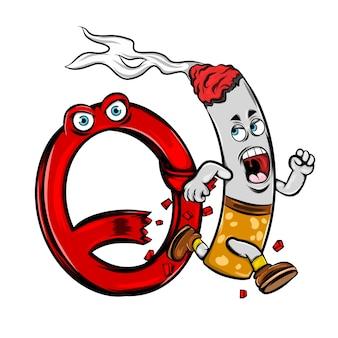 오염을 만들기 위해 정지 신호에서 타는 담배의 그림