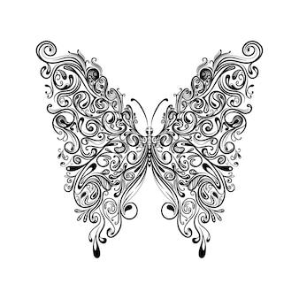 入れ墨のインスピレーションのための大きな美しい翼を持つ蝶のイラスト