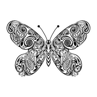 インスピレーションを描くための黒い輪郭の蝶のイラスト