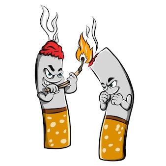 산소를 끊기 위해 성냥으로 다른 담배를 태우는 담배의 그림 프리미엄 벡터