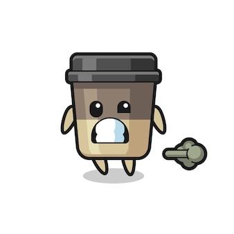 방귀를 뀌는 커피 컵 만화의 삽화, 티셔츠, 스티커, 로고 요소를 위한 귀여운 스타일 디자인 프리미엄 벡터