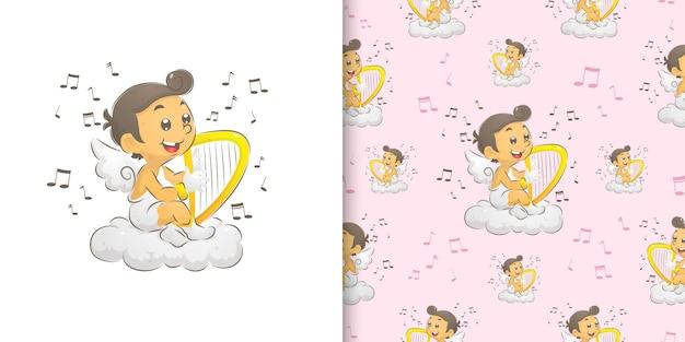 Иллюстрация купидона, сидящего и играющего на арфе в раю