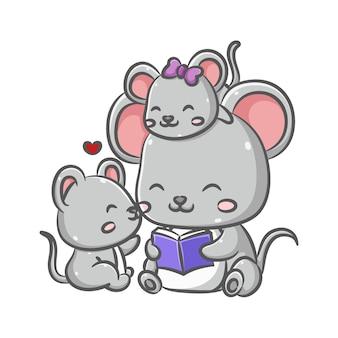 Иллюстрация милых семейных мышек сидит и читает книгу рассказов вместе с любовным сердцем