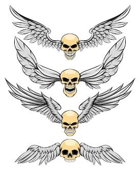 Иллюстрация опасности человеческого черепа с длинными перьями крыльев