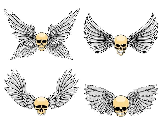Иллюстрация мертвого черепа с четырьмя поднятыми крыльями