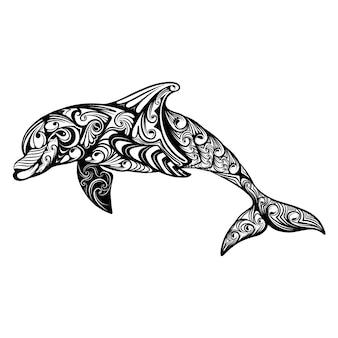 インスピレーションを描くためのzentangle抽象芸術とイルカのイラスト