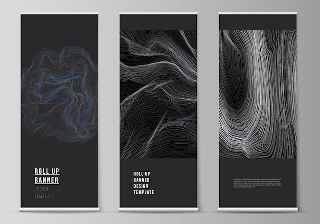 ロールアップバナースタンド、垂直チラシ、フラグデザインビジネステンプレートの編集可能なレイアウトのイラスト。滑らかな煙の波、ハイテクコンセプトブラック色のテクノ背景。