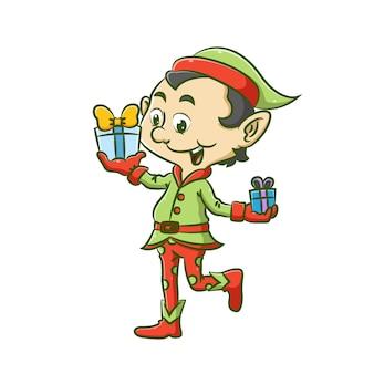 エルフの男の子のイラストは、彼の友人のために彼の手に2つの贈り物を持っている緑と赤の衣装を使用しています