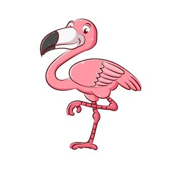 Иллюстрация очаровательного фламинго розового цвета с длинными ногами.