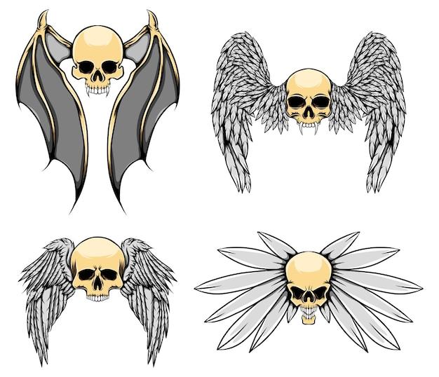 긴 날개와 큰 뿔을 가진 유령 두개골의 그림