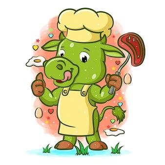 Иллюстрация зеленой коровы с вкусным мясом в руке