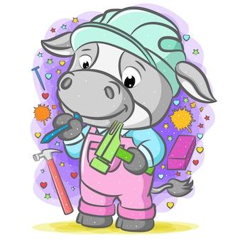 Иллюстрация серая корова-строитель держит топор с синим гвоздем