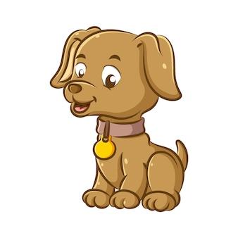 茶色のネックレスと金色のペンダントを使用した小さな犬のイラストは、幸せそうな顔で座っています