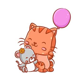 Иллюстрация мышки с желтой заколкой в виде солнечного цветка и большой кошки, держащей розовый воздушный шар Premium векторы
