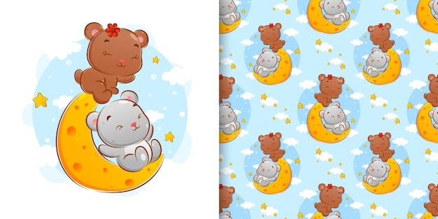 На рисунке изображены два медведя, играющие на луне днем.