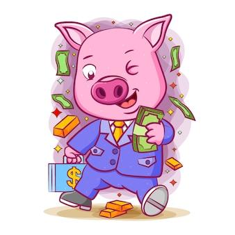 Иллюстрация розовой свиньи, держащей в руке кучу денег