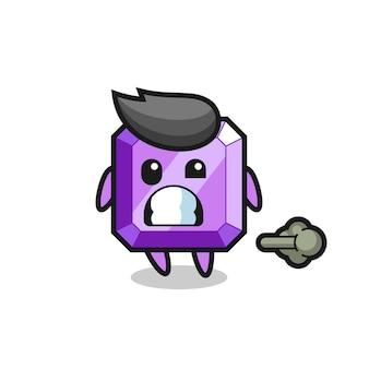 Иллюстрация фиолетового мультфильма с драгоценным камнем, который пердит, милый стиль дизайна для футболки, наклейки, элемента логотипа