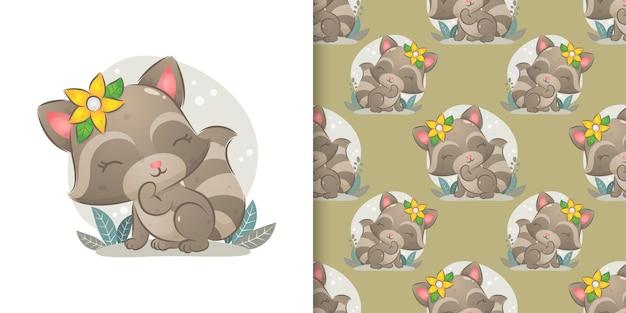 Иллюстрация енота с цветочной заколкой для волос, играющего в саду
