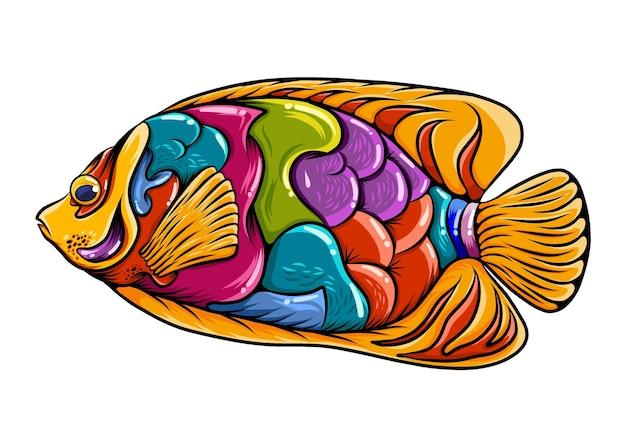화려한 몸매와 아름다운 주황색 지느러미가있는 리갈 천사 물고기 zentangle의 그림