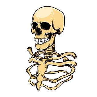 인간의 갈비뼈와 두개골 머리의 그림