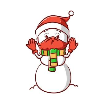 Иллюстрация грустного мистера снеговика, использующего красную маску из-за вируса короны и красных перчаток