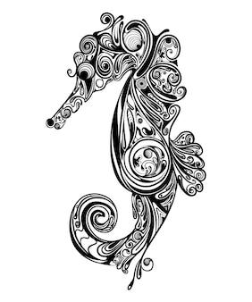 入れ墨のインスピレーションのための花の芸術zentangleと海の馬のイラスト