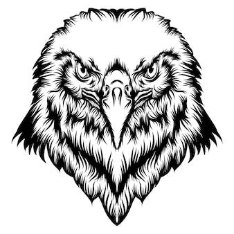 ワシの頭の入れ墨とアニメーションのイラスト