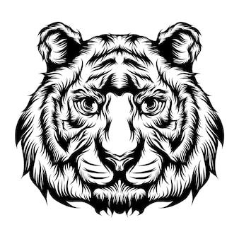 タトゥーのアイデアのための虎の単一の頭のイラスト