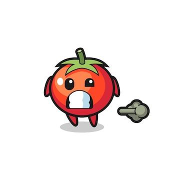 방귀를 뀌는 토마토 만화의 삽화, 티셔츠, 스티커, 로고 요소를 위한 귀여운 스타일 디자인