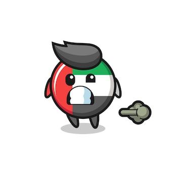 방귀를 뀌는 아랍에미리트 국기 배지 만화의 삽화, 티셔츠, 스티커, 로고 요소를 위한 귀여운 스타일 디자인